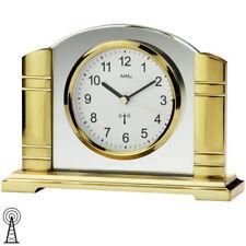 AMS 5143 Tischuhr Funk golden Metall mit Glas Funktischuhr.