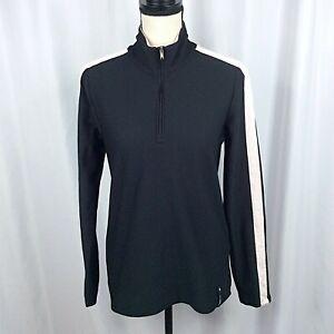 Lauren Ralph Lauren Active 1/4 Zip Pullover Top Womens Large Black Vented Golf