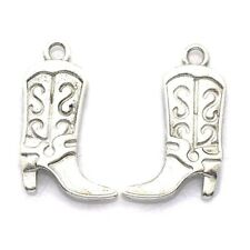 5 x Tibetan Silver Cowboy Boot Charms
