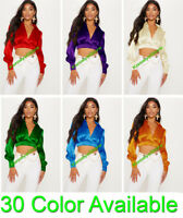 Ladies Satin Vintage style Solid Collar Shirts Long Sleeve Casual Blouse Top