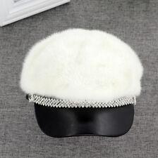 Brand New Women's Fashion Genuine Full Piece Mink Fur Sheep Leather hat cap