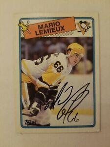 1988-89 TOPPS MARIO LEMIEUX SIGNED HOCKEY CARD # 1 - 248