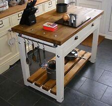 Rustic Handmade Freestanding Butchers Block Style Kitchen Island Work Bench