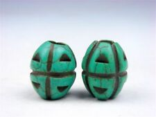 Pair Old Tibetan Turquoise Carved Grenade Shaped Little Beads #09291901