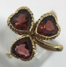 Antique Pretty Garnet Clover Yellow Gold Ring Three Hearts Band Shamrock