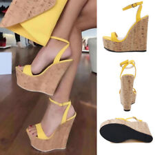 Womens High Wedge Platform Heels Roman Sandals Ankle Strap Summer Muffin Shoes
