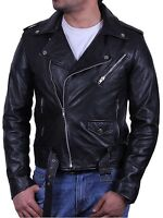 Mens Real Leather Jacket Biker Style Vintage Black Zipped Pockets Casual Fitted
