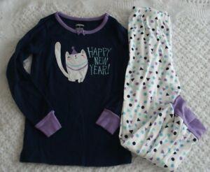 Gymboree Girls 6 PJ  pajamas Happy New Year kitty cat EUC