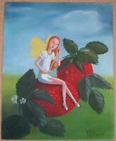 GARDEN FAIRY STRAWBERRY STRAWBERRIES FRUIT BOTANICAL LISTED ARTIST OIL PAINTING