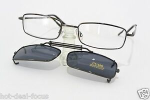 NEARSIGHTED READING GLASSES gunmetal with UV400 CLIP-ONS powers -1.00 to -5.00