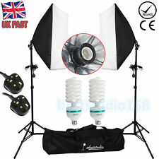 Photography Studio 2x 135W Softbox Continuous Lighting Soft Box Light Stand Kit