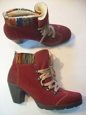 Rieker Red Suede Ankle Boots Colorful Knitted Cuffs Shoes Size 40 9 @ cLOSeT