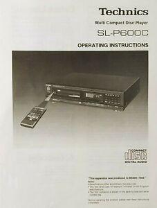 Technics SL-P600C Multi Compact Disc CD Player -  Instructions - USER MANUAL