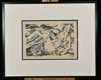 Vintage original stone lithograph on paper. Reclining nude, Willy Jaeckel 1919