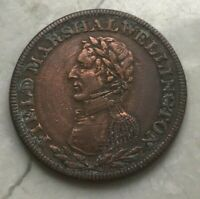 Field Marshal Wellington 1/2 Half Penny Token - Cleaned and Wheel Marks