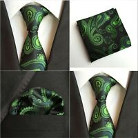 Mens Fashion Black Silk Green Paisley Neck Tie Hanky Pocket Square Set Lot HZ104