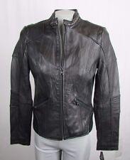 GUESS Women's Medium BLACK Leather Moto Bomber Jacket MSRP $420 K10
