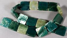 "WILD & WOOLLY HAND CUT INDIAN AGATE 20MM SQUARE BEADS 15"" STRAND / 19 BEADS"