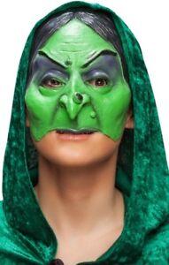 Femmes Vert Sorcière 3/4 Visage Latex Halloween Costume Déguisement Masque