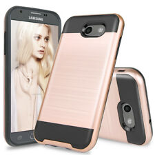 For Samsung GALAXY J3 Prime / J3 Luna Pro Brushed Armor Rubber Case+Glass Screen