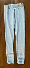 Gymboree Girl's Gray Leggings Size 7/8 Euc Pattern on End of Pant Leg