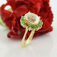 10k Yellow Gold Estate Aquamarine & Emerald Ring Size 6.75