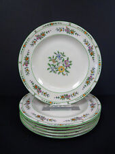 "Coxon American Belleek China Green Floral Luncheon Plates 9"" Set of 6"