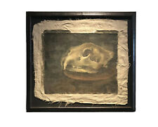 Antique Still Life Oil Painting Of A Lion Skull - Memento Mori - Macabre