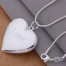 Men Charm Unisex Stunning Silver Plated Necklace Photo Locket Heart Pendant
