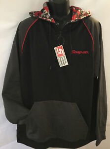 NEW! Snap-On Tools Mens XL SWEATSHIRT W/ HOOD HOODIE ZIP-UP PULLOVER BLACK/GRAY