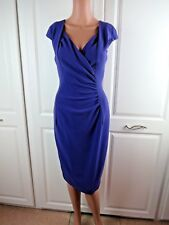 LK-BENNETT PURPLE-FITTED SHIFT-DRESS SIZE 10 STRETCHY FORMAL-OFFICE EVENT