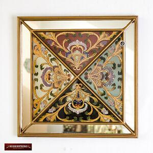 Decorative Square wall Mirror, Peruvian Multicolor Accent Mirror for wall decor