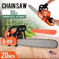 "20"" Bar Gasoline Chainsaw Chain Saw 52cc Engine w/ Aluminum Crankcase New"