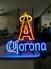 "Los Angeles Angels Corona Neon Lamp Sign 20""x16"" Bar Light Beer Glass Display"