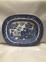 Rare Antique Staffordshire England Stone China Large Blue Willow Platter