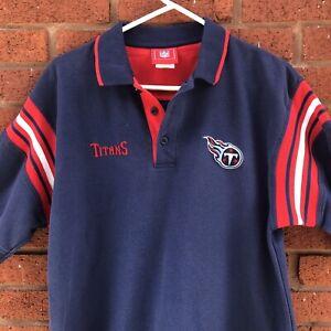 VTG Tennessee Titans Embroidered NFL Polo Golf Shirt Football L Nashville Navy