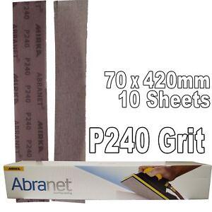 Mirka Abranet 70x420mm P240 Grit 10x HookNLoop Dust Free Sanding Abrasive Strips