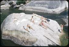 Swimsuit Guys Girls Sunbathing Party on Big Rock Vintage 1950s Slide Photo