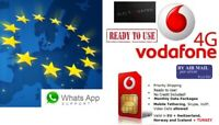 anonymous Activated: Vodafone 4G Prepaid Sim Card for Roaming in EEA EU Europe