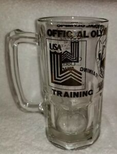 """1980 Lake Placid Official Olympic Training Mug Large Beer Stein Glass 8"""" Tall"""