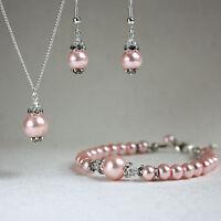 Vintage pink pearls crystal necklace bracelet earrings wedding bridal silver set