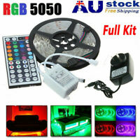 LED Strip 5M RGB 5050 Waterproof LED Strip light SMD 44 Key Remote 12V AU Power