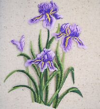 """Large 6"""" Purple Iris Group Flowers Spring - Iron on Applique/Embroidered Patch"""
