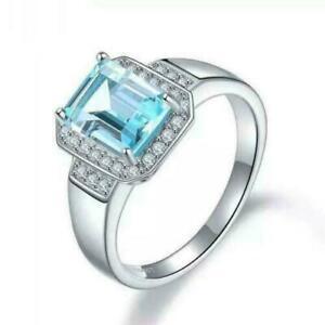 925 Silver Blue Topaz Engagement Band 7x9 mm Octagon Swiss Topaz Wedding Ring