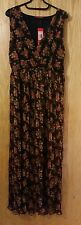 women brown floral color chiffon steam pleat long maxi wrap dress size S/M