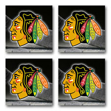Chicago Blackhawks Hockey Rubber Square Coaster set (4 pack) SRC2066