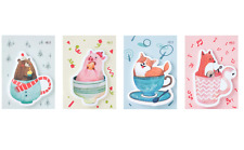 4Pack(120 sheets) Cute Cartoon Animals in Coffee Mug sticky notes