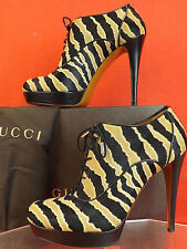 NIB GUCCI BETTY BLACK CARAMEL ZEBRA PRINT HAIR LACE UP PLATFORM ANKLE BOOTS 38 8