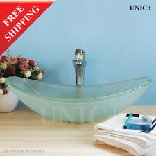 Frosted Glass Vessel Sink Bathroom Sink Bowl Oval Glass Vanity Sink, BVG012