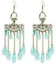 C1194 oval fan-shaped chain water drop bead cute women dangle hook earrings